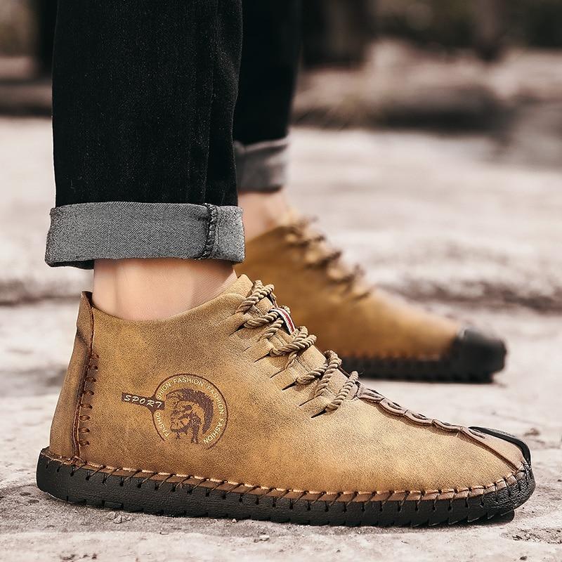 Men Snow Boots Warm Fur Plush Autumn Men Casual Shoes Khaki Quality PU Ankle Boots Men Shoes Botas hombre Plus Size 38-48 6015m 2