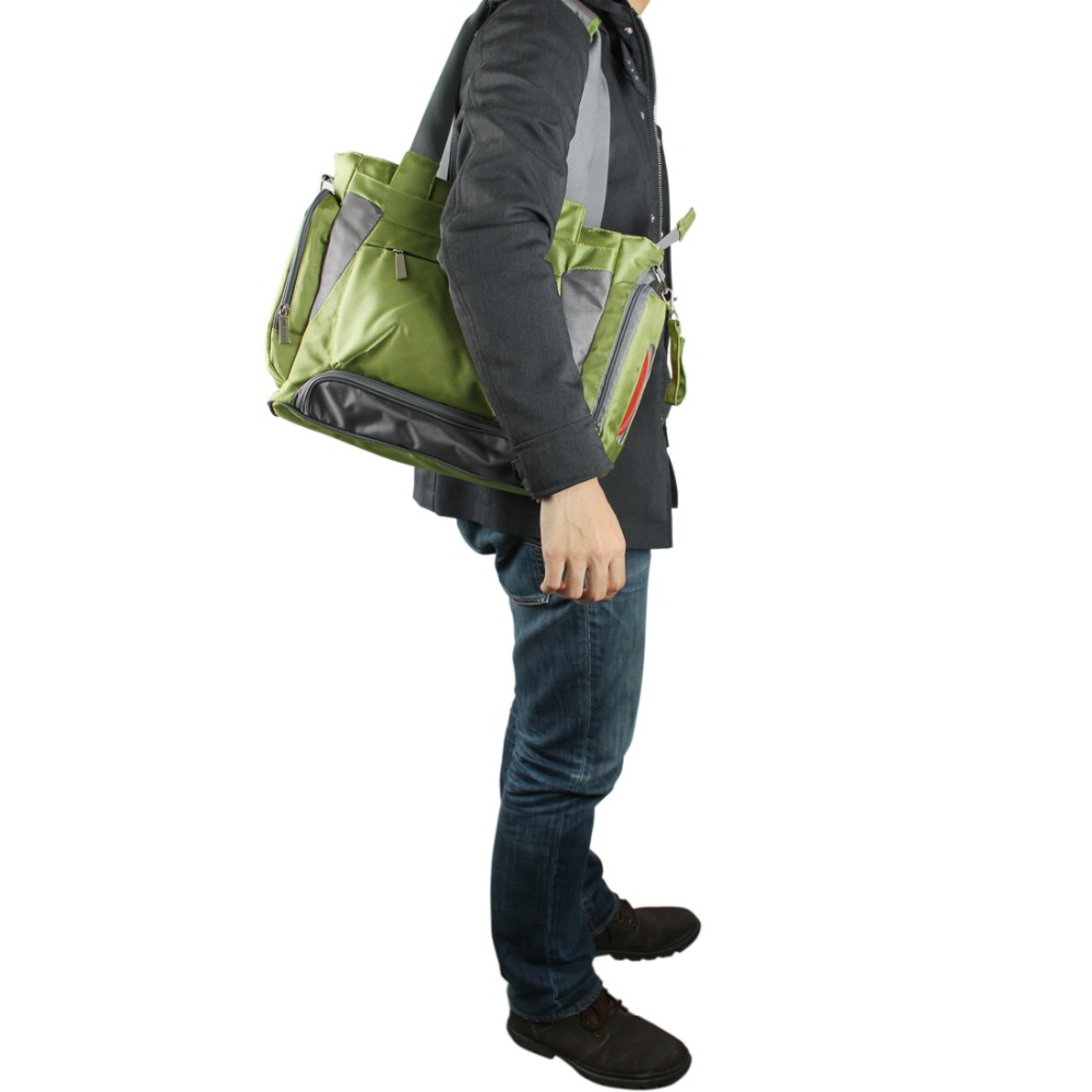 Bolsa de pañales para bebé mommore bolsa de pañales verde con almohadilla cambiante bolsas grandes para mamá bolsos de mano impermeable para cochecito de bebé - 6