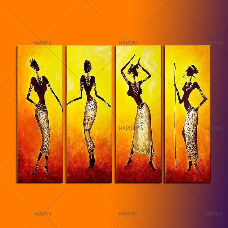 Handmade Acrylic Africa Women Paintings Modern Wall Art Decor 4 ...