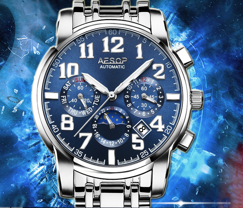 Luxury Moon Phase watch men sapphire glass stainless steel waterproof Automatic machine date watch relogio masculine luxury moon phase watch men sapphire glass stainless steel waterproof automatic machine date watch relogio masculine