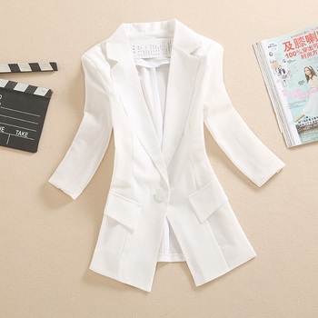 цена на White blazer female thin section summer short paragraph casual wild small suit sleeves Slim mesh splicing suit jacket