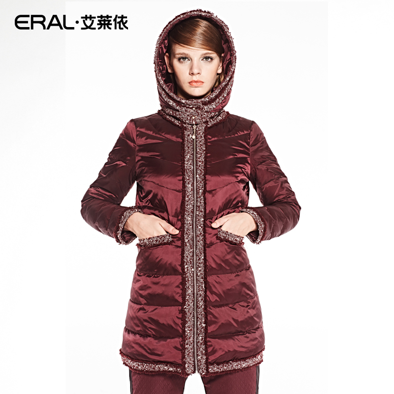 ERAL 2016 New Arrival Winter Coat Womens Slim Medium-long Embroidery Tassel Thick Down Jacket with a Detachable Hood ERAL6039C