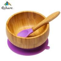 Qshare 竹シリコーン吸引カップベビープレート供給竹子供食器食器ベビーボウル子供のためのプレート幼児 Feedkid