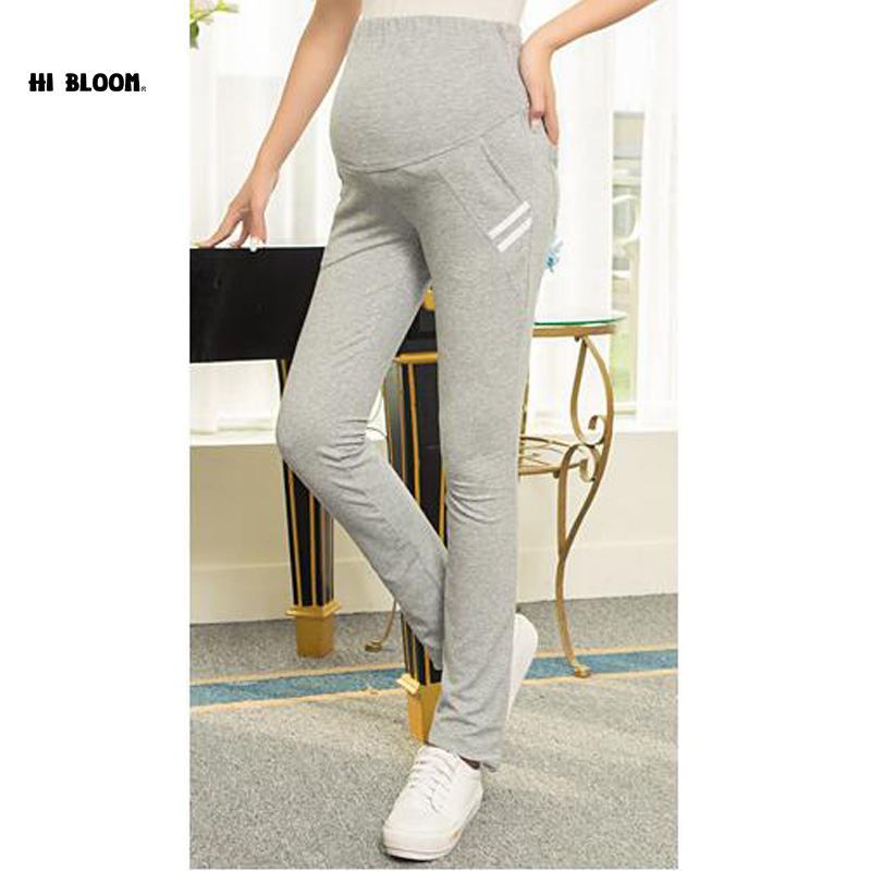 HI BLOOM High Waist Cotton Autumn Winter Maternity Pants 3 Colors Elastic Waist Sports Pants Capri for Pregnant Women все цены