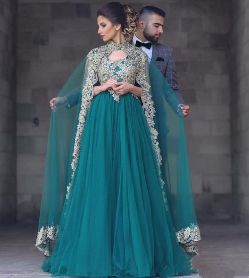Emerald Green Long   Evening     Dresses   2018 With Cape A Line Gold Embroidery Crystal Formal Party Gown Prom   Dress   Abendkleider