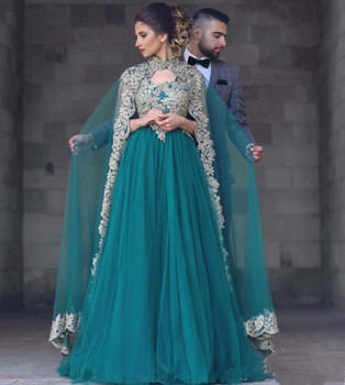 bd71572567e9 Vestidos de Noche largos de color verde esmeralda 2018 con capa una línea  de oro bordado cristal Formal vestido de fiesta Abendkleider