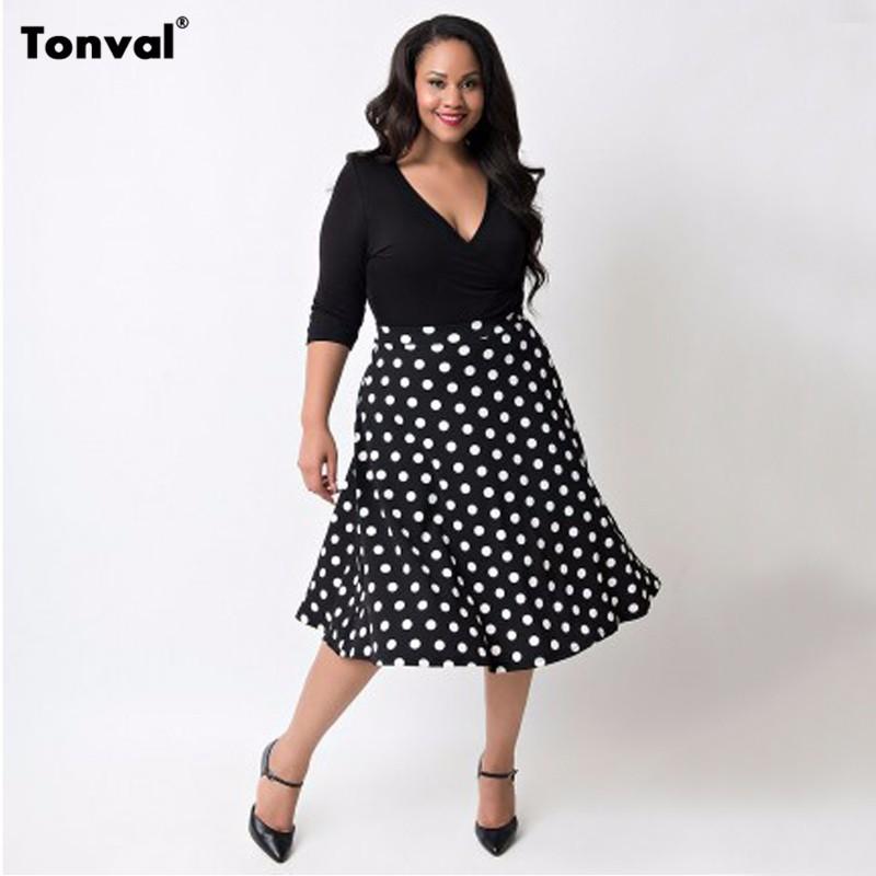 586eb42a35024 Tonval 5XL Women Vintage Polka Dot Dress Autumn Plus Size 4XL Clothing Sexy  Deep V Neck Black Vestidos Casual Swing Dresses-in Dresses from Women's ...