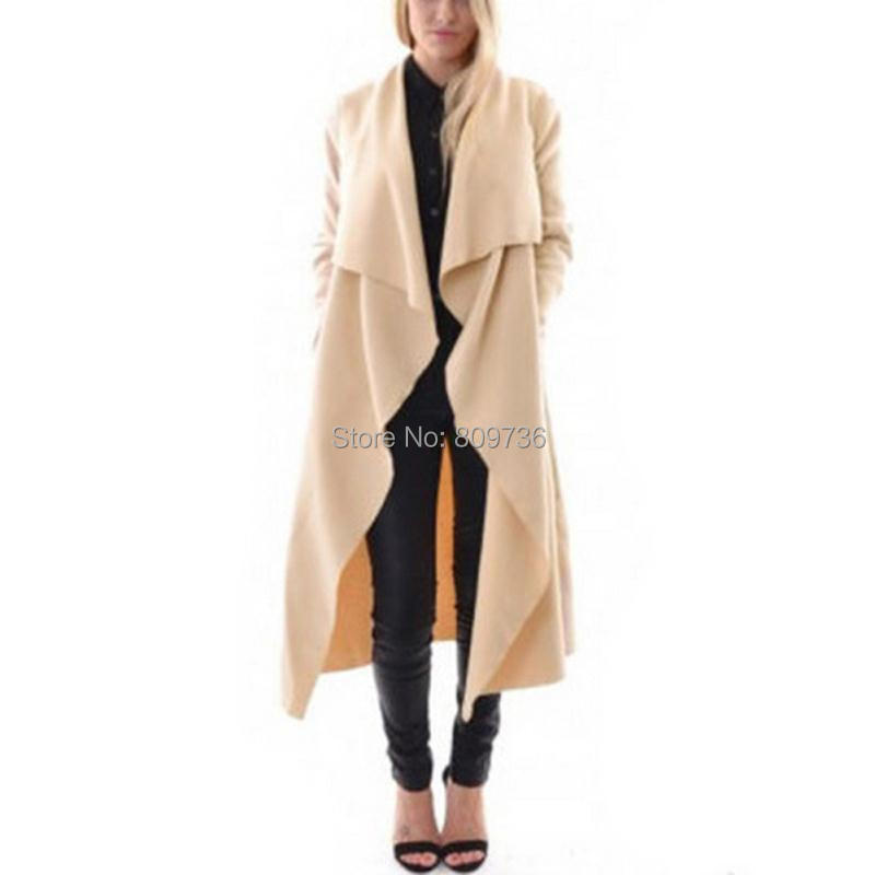 85cf4921b1852 Womens Waterfall Long Sleeve Fallaway Open Cape Cardigan Long Jacket Coat  For 2016 Spring Large Lapel Trench Outwear Clothing-in Wool   Blends from  Women s ...