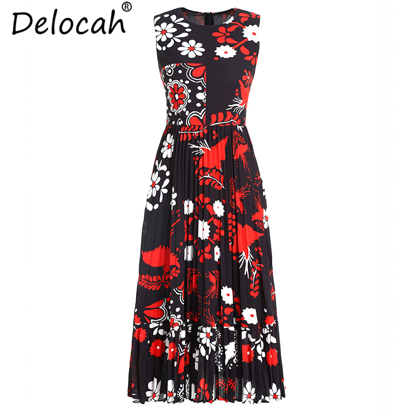 Delocah Women Summer Dresses Runway Fashion Sleeveless Floral Print Collect Waist Elegant Casual Vacation Pleated Dresses