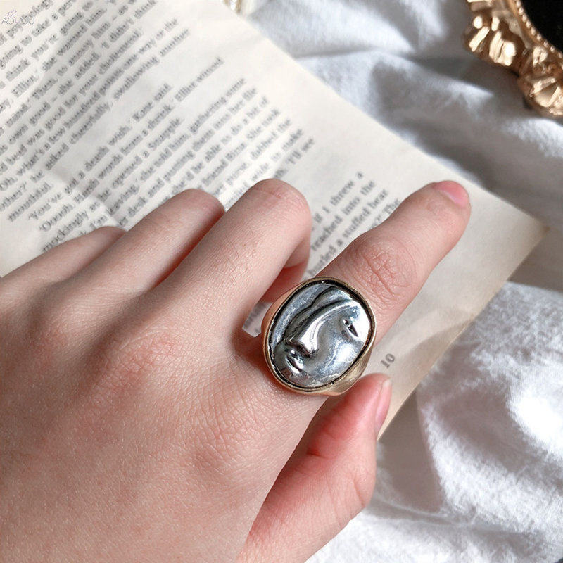 AOMU Hot Sale Fashion Jewelry Rings Metal Abstract Face Mask  Marble Rings Index Finger Rings For Woman Jewelry Gift