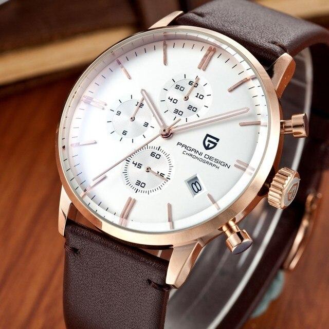 Мода Хронограф Спортивные Часы Мужчины Dive 30 м Натуральная Кожа Кварцевые Часы Luxury Brand PAGANI ДИЗАЙН Relogio Masculino