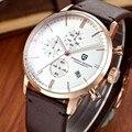 Moda Deportes Cronógrafo Relojes Hombres de Buceo 30 m Reloj de Cuarzo de Cuero Genuino de Lujo de la Marca PAGANI DISEÑO Relogio masculino