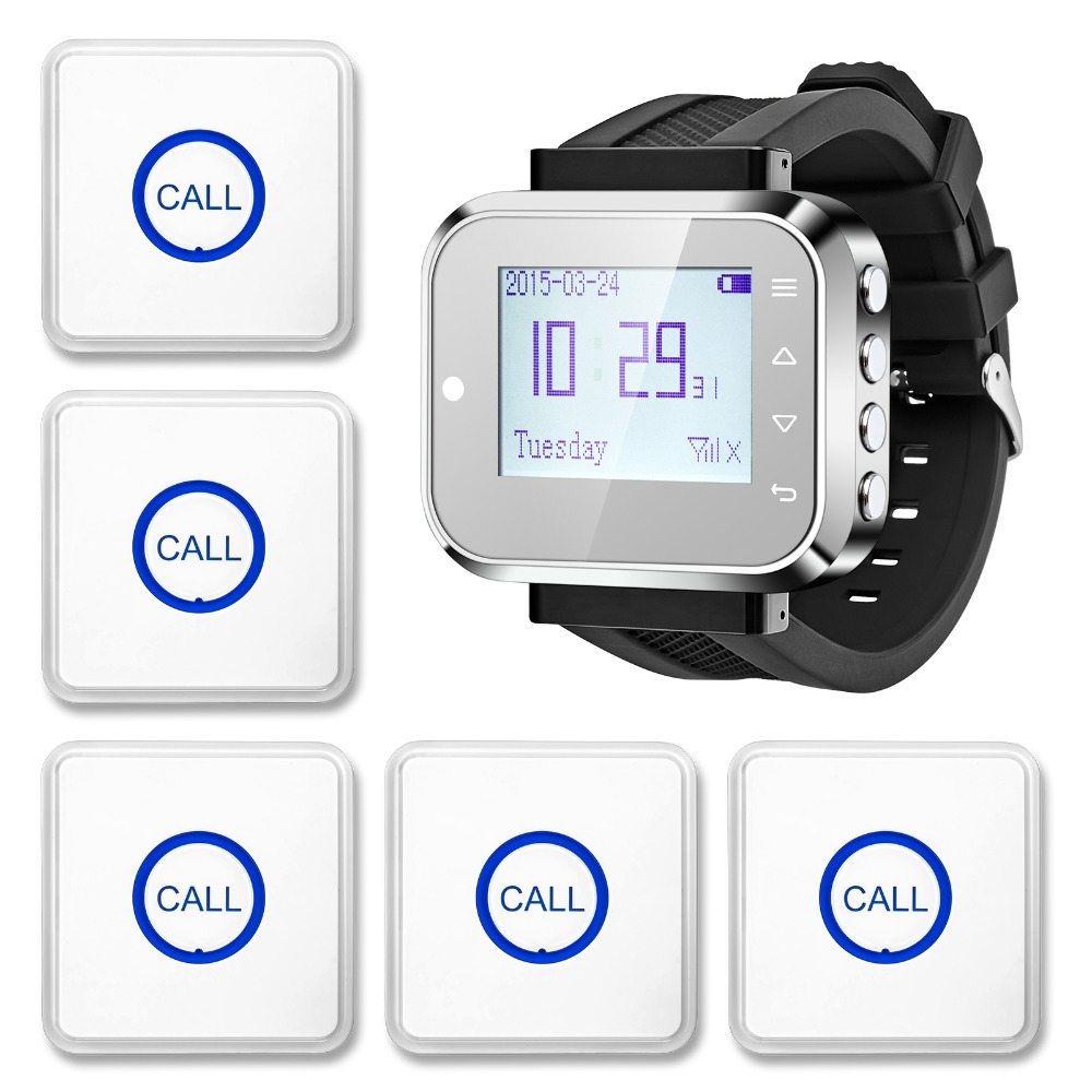 KERUI Wireless Waiter calling Waiter Service Calling System For Bank Restaurant Hotel,2 Watch,28 Buttons wrist pagers