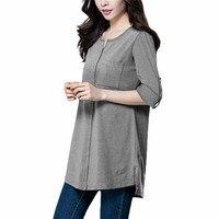 Timeson Women Long Casual Shirts Autumn Spring Top V Neck High Low Hem Loose Elegant Tunic