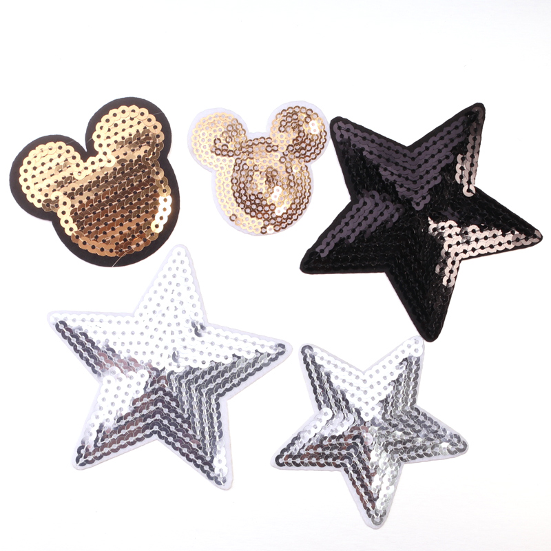 3 pieces of 8cm bright sequin bows IRON-ON patch applique badge from UK