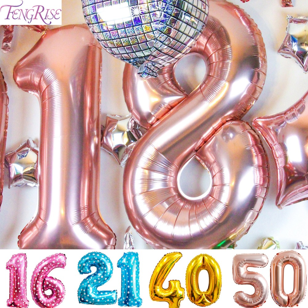 FENGRISE 18th <font><b>20th</b></font> 21st 30th 40th 50th <font><b>Birthday</b></font> Balloons Anniversary Rose Gold Balloon Number Figure <font><b>Birthday</b></font> Party <font><b>Decorations</b></font> image