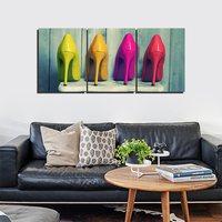 キャンバスプリント壁アート絵画色ハイヒールの靴女性のための寝室の壁アートの装飾3ピースパネル現代アートワーク画像