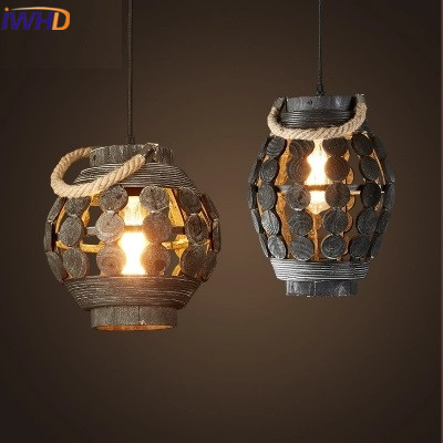 Wood Pendant Lights Vintage Industrial Retro Pendant Lamps Dining Room Lamp Restaurant Bar Counter Attic Lighting E27 Holder a1 master bedroom living room lamp crystal pendant lights dining room lamp european style dual use fashion pendant lamps