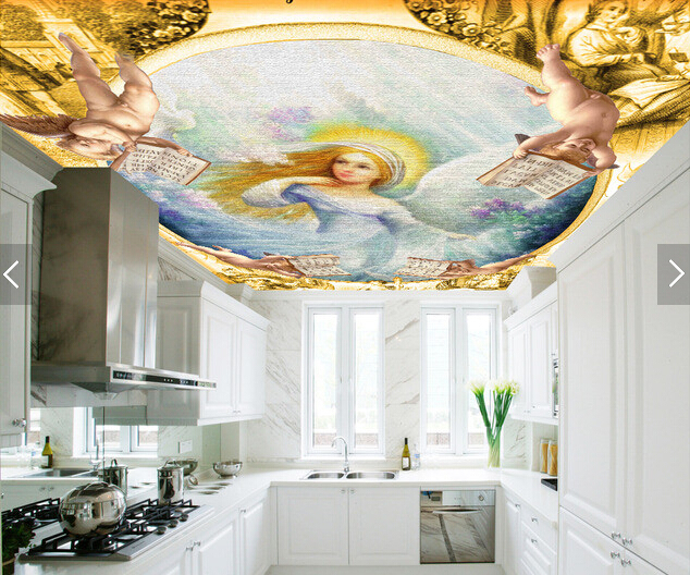 Custom wallpaper ceiling,European medieval angels,3D retro for living room bedroom ceiling restaurant wall papel de parede european church square ceiling frescoes murals living room bedroom study paper 3d wallpaper