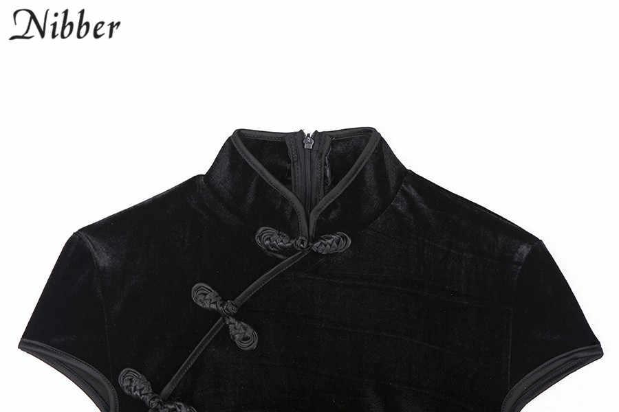 Nibber, ретро китайский стиль, cheongsam, облегающее мини-платье, женское, 2019весна-лето, модное, Клубное, вечерние, элегантное, черное, розовое, короткое платье
