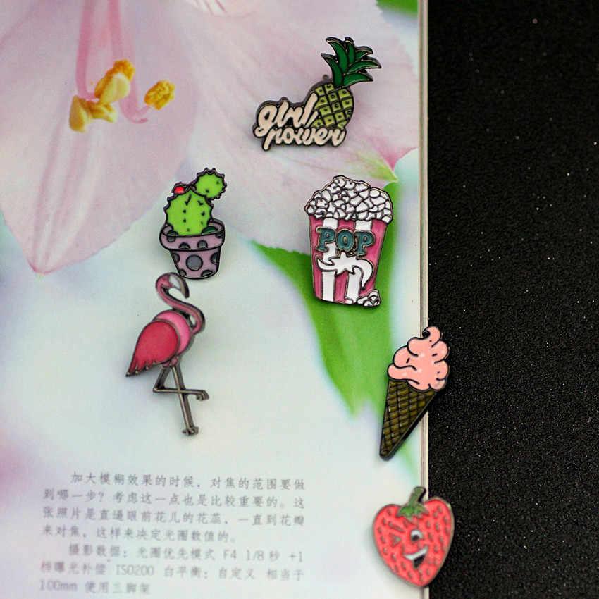 Timlee x120かわいい漫画サボテンフラミンゴアイスクリームポップコーンイチゴパイナップルメタルブローチピンボタンピンギフト卸売