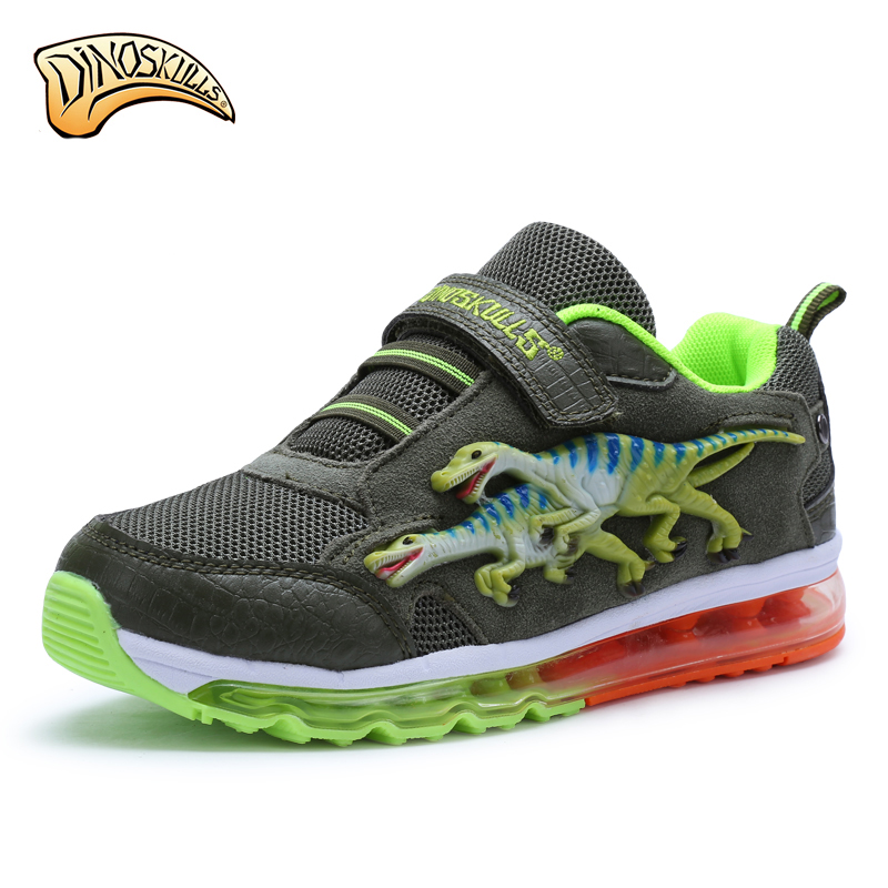 Dinoskulls big Boys running sneakers children lightly damping pad shoes kids sport shoes teens 3D dinosaur Breathable shoes