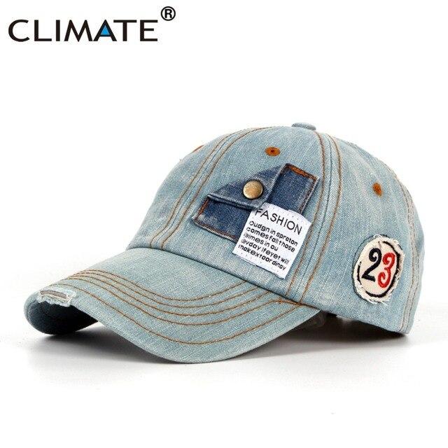 CLIMATE Men Cool Denim Baseball Caps High Quality Fashion Jeans Cap Men  Blank Adjustable Navy Blue Cool Heavy Denim Hat Caps 5c5cb9b5eb2