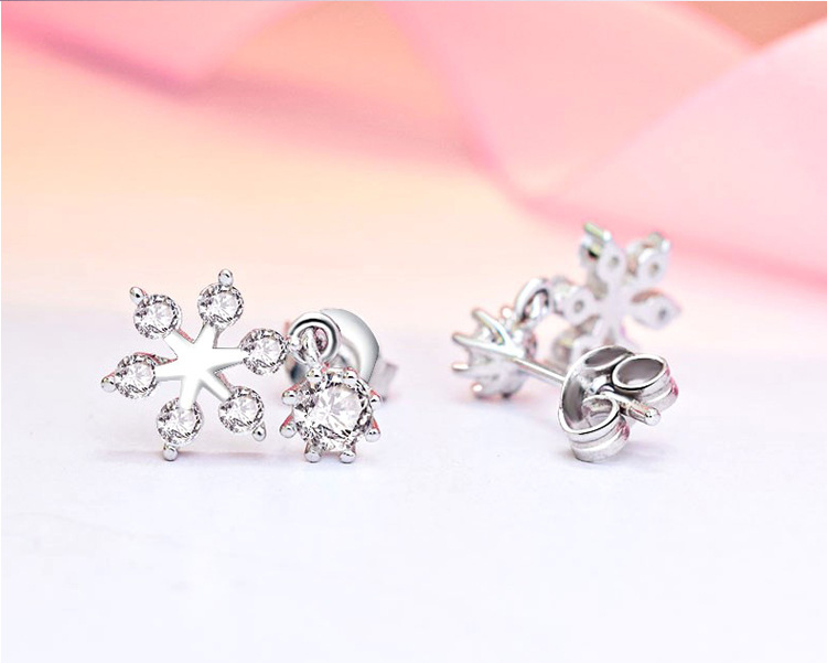 High quality fashion S925 silver earrings snowflake small pendant earrings for couples gifts LUM03