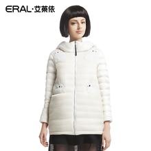 ERAL 2016 Зима женские Белка Аппликация Сплошной Цвет Сетки Средней Длины С Капюшоном Милый Пуховик Пальто ERAL6098D