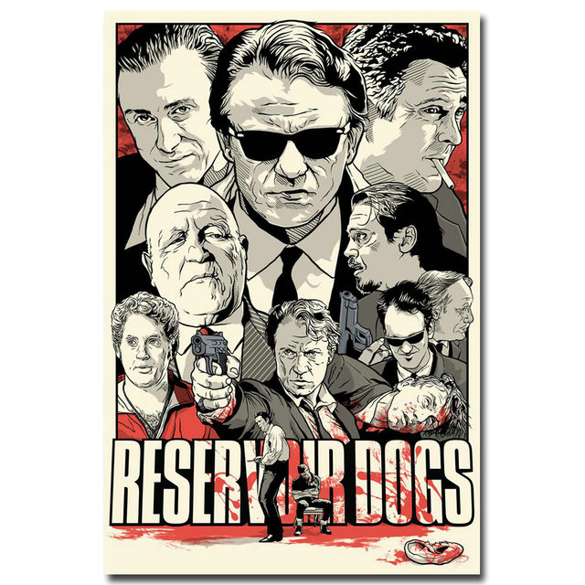 NICOLESHENTING Pulp Fiction Reservoir Dogs Vintage Poster Movie Art Silk Print Wall Pictures Living Room Decoration