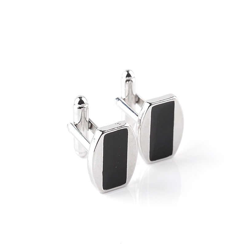 الهندسة مصمم cufflinks عينة الأسود المينا بالفضة رجال والمجوهرات حفل زفاف العريس الشركة الكفة صلة