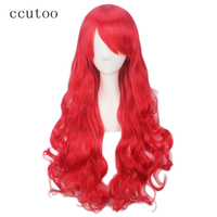Ccutoo 80cm Red Wavy Long Synthetic Hair The Little Mermaid Princess Cosplay Wigs Full Bangs Heat