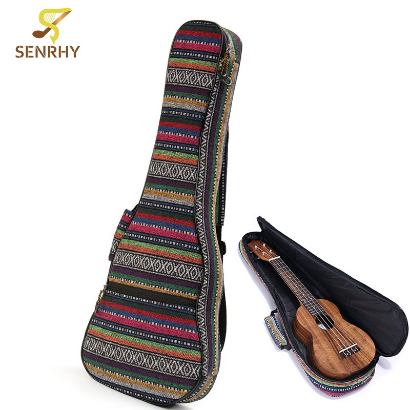 26 Inch Cotton Nylon Country Style Soft Padded Guitar Bag Ukulele Case Cover Backpack With Shoulder Strap For Ukulele Accessory 40 41inch acoustic classical guitar bag case backpack adjustable shoulder strap portable 4mm thicken padded black