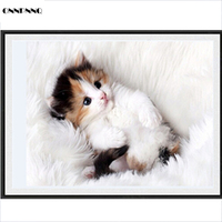 ONNPNNQ 5D Diamond Cut Kitten Painting Cross Stitch Kits Home Decor DIY Art Gift
