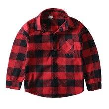Kids girls red black plaid turn down collar shirts boy long sleeve autumn blouse tops teens shirt for boys girl school clothes