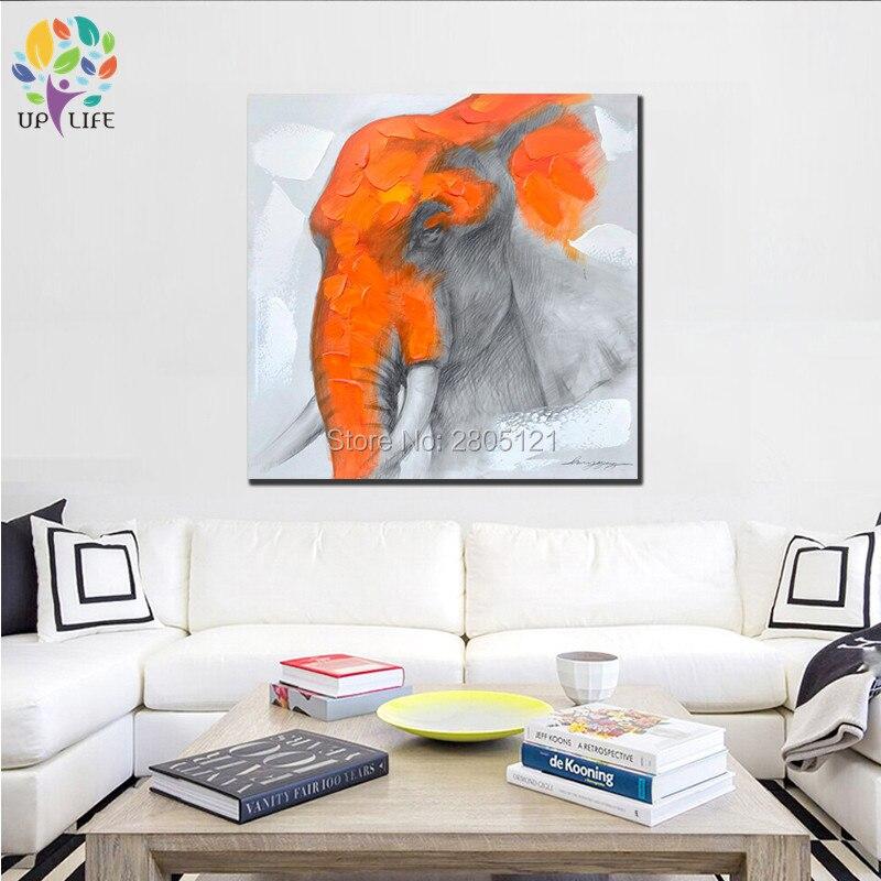 €27.53 |Nouveau Design moderne abstrait toile art peinture éléphant  peintures à l\'huile blanc orange mur photo pour décoration de salon-in  Peinture et ...