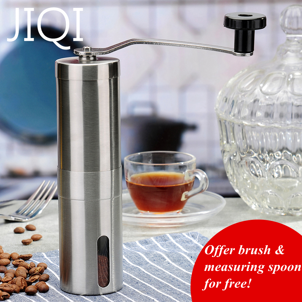 JIQI Stainless Steel Silver Handmade Manual Coffee Bean Grinder Mill Coffee Maker Kitchen Grinding Tool For Home Kitchen