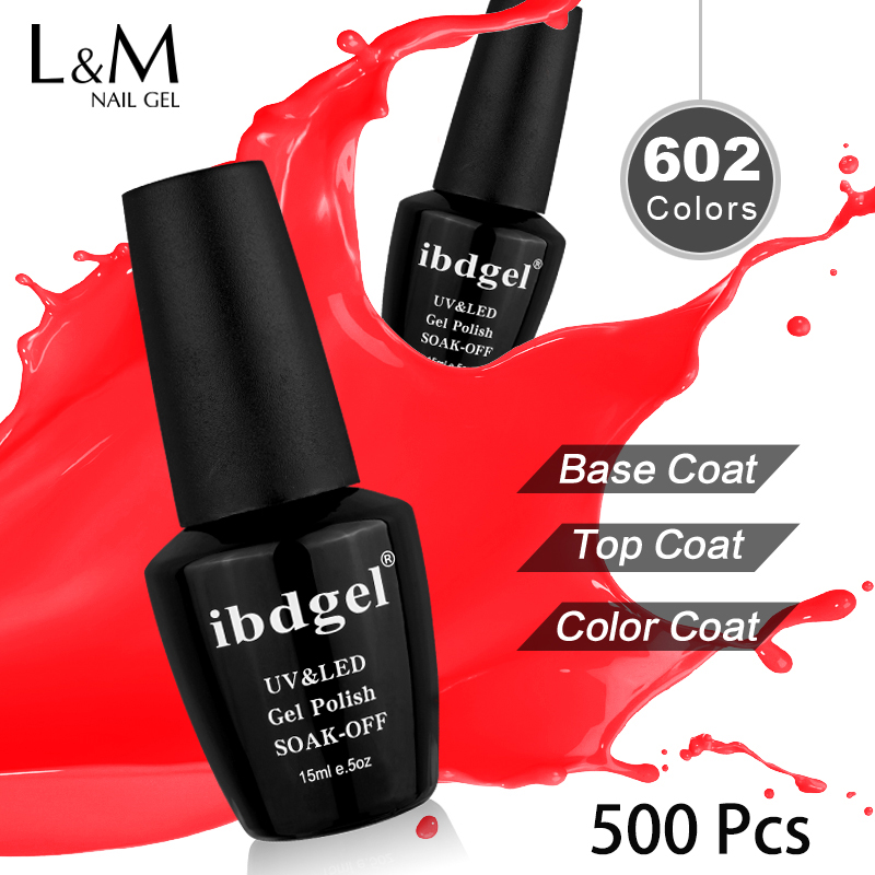 ibdgel 500 Pcs Colors Fashion UV Gel Nail Polish Soak Off Vernish Semi Permanent LED Nail