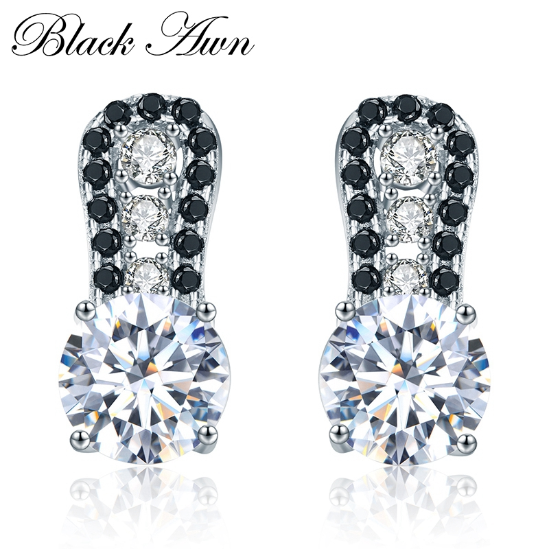 Black Awn 2019 New Vintage 925 Sterling Silver Jewelry Natural Black Spinel Wedding Stud Earrings for Women Fine Jewelry TT043