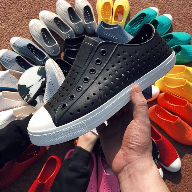 Allwesome Men Nativs Jelly Shoes Summer Croc Shoes Scarpe Garden Clogs Beach Women Slip on Solid Platform Red Sandals