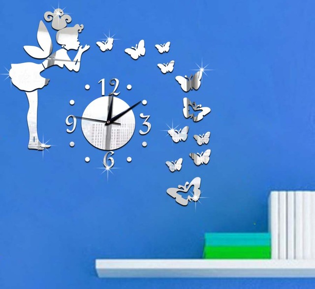 60X60CM Big Wall Clock Angel Girl Play With Butterfly Romantic Home Sticker  Childrenu0027s Room Decals Digital