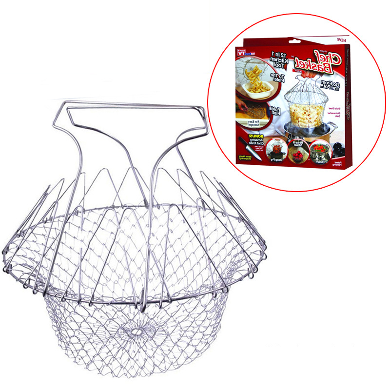 Cooking Tools Strain Folding Basket strainer Steam Rinse chef frying Net Home Kitchen Tool