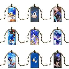 EJ Glaze Sega Hedgehog Sonic Minimal For Women Jewellery Glass Cabochon Pendant Necklace Rectangle Fashion Necklace(China)