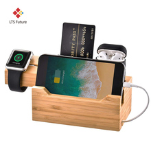 New 3 in 1 Bamboo Wood Charging Dock, Multi USB Charging Station Stand Holder for iPhone Apple Watch Airpod Samsung all phones