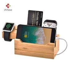 Novo 3 em 1 doca de carregamento de madeira de bambu, multi usb estação de carregamento suporte para iphone apple relógio airpod samsung todos os telefones