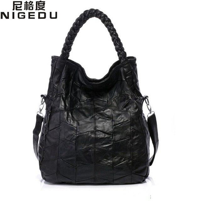 Genuine leather women handbag lambskin Women's messenger Bags real sheepskin big bag patchwork Shoulder bag bolsas Free shipping