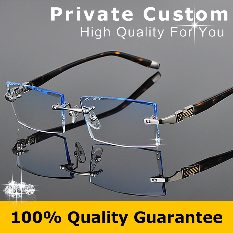 Luxurious Glasses 2016 Optical Eyeglasses Men Rimless Myopia Prescription Anti Radiation Brand Clear Hyperopia Eye Glasses