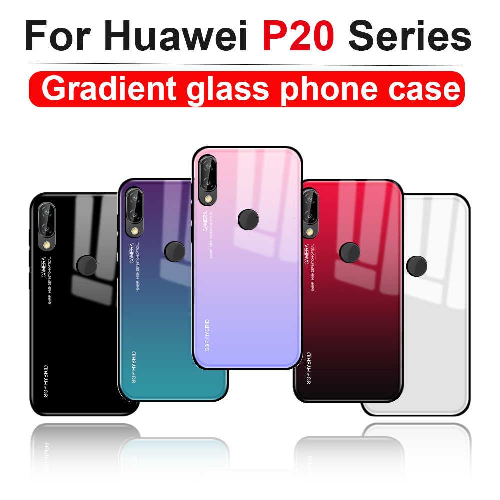 Caso en P20 pro lite huawei p20 pro p20lite p20pro p 20 lite pro cubierta Coque de vuelta de vidrio templado carcasa 20 lite 20pro parachoques