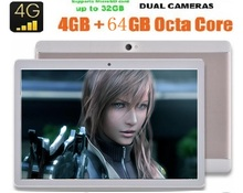 "2017 Más Nuevo 10 pulgadas Octa Core Tablet PC 4G LTE 4 GB RAM 64 GB ROM Dual SIM 1280×800 8.0MP del Androide 6.0 GPS Tablet PC de 10 ""+ Regalo"