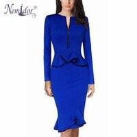 Nemidor 2016 New Plus Size Vestiods Women Elegant Blue Midi Dress Bodycon Long Sleeve Solid Dress